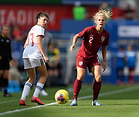 FRISCO, TX - MARCH 11: Rachel Daly #2 of England watches her pass to a teammate during a game between England and Spain at Toyota Stadium on March 11, 2020 in Frisco, Texas.
