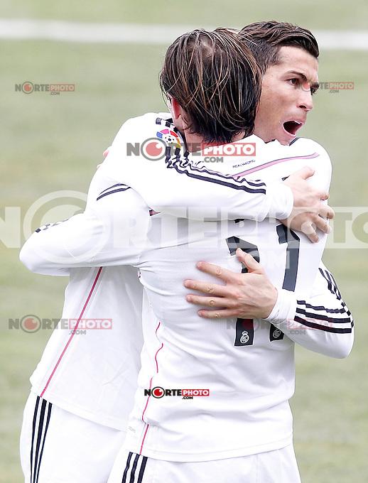 Real Madrid's Garet Bale (r) and Cristiano Ronaldo celebrate goal during La Liga match.January 18,2013. (ALTERPHOTOS/Acero) /NortePhoto<br /> NortePhoto.com