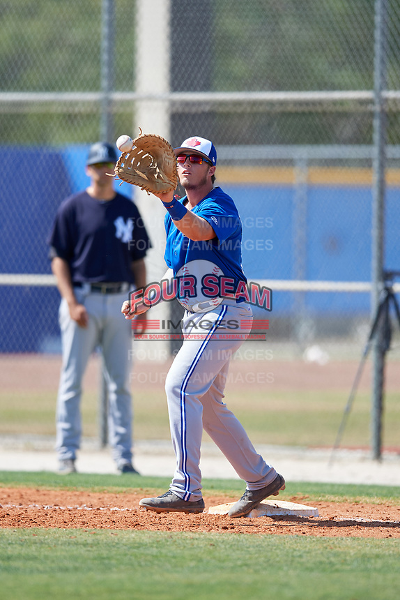 Toronto Blue Jays Kacy Clemens (38) during a Minor League Spring Training game against the New York Yankees on March 18, 2018 at Englebert Complex in Dunedin, Florida.  (Mike Janes/Four Seam Images)