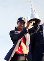 Tiger Woods (USA),.MARCH 25, 2012 - Golf :.Tiger Woods of United States celebrates with the trophy after winning the final round of the Arnold Palmer Invitational at Arnold Palmer's Bay Hill Club and Lodge in Orlando, Florida. (Photo by Thomas Anderson/AFLO)(JAPANESE NEWSPAPER OUT)