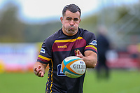 Dave Ward of Ampthill Rugby warms up ahead of the Greene King IPA Championship match between Ampthill RUFC and Nottingham Rugby on Ampthill Rugby's Championship Debut at Dillingham Park, Woburn St, Ampthill, Bedford MK45 2HX, United Kingdom on 12 October 2019. Photo by David Horn.
