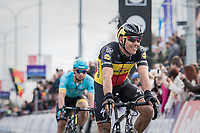 Philippe Gilbert (BEL/Quick Step floors) winning the sprint for 2nd and happy with the win for his teammate Yves Lampaert 39 seconds earlier<br /> <br /> 72nd Dwars Door Vlaanderen (1.UWT)<br /> 1day race: Roeselare &rsaquo; Waregem BEL (203.4km)