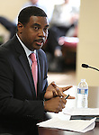 Senate Majority Leader Steven Horsford, D-North Las Vegas, speaks to the Nevada Tax Commission on April 18, 2011, in Carson City, Nev. Horsford filed a petition with the commission seeking emergency action to clarify deductions taken by the mining industry. .Photo by Cathleen Allison