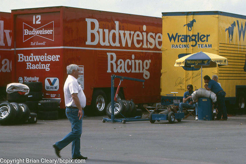 Junior Johnson walks through the garage area before  the Southern 500 at Darlington Raceway in Darlington SC on September 1, 1985. (Photo by Brian Cleary/www.bcpix.com)
