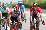 New race leader Dylan Teuns (BEL) Bahrain-Merida chats with Thomas De Gendt (BEL) Lotto-Soudal during Stage 7 of La Vuelta 2019 running 183.2km from Onda to Mas de la Costa, Spain. 30th August 2019.<br /> Picture: Luis Angel Gomez/Photogomezsport | Cyclefile<br /> <br /> All photos usage must carry mandatory copyright credit (© Cyclefile | Luis Angel Gomez/Photogomezsport)