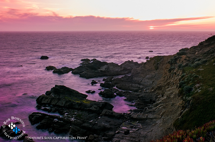 High above the rocks and waves settling in for the sunset on the gorgeous northern California Sonoma County coastline