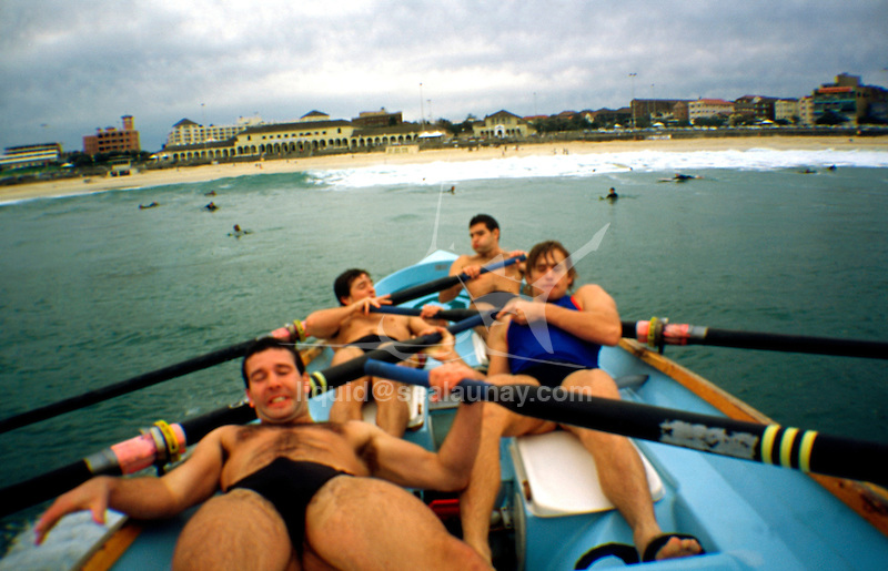 On board a surf boat from the Bondi Surf Life Saving Club during a training session on Bondi Beach.