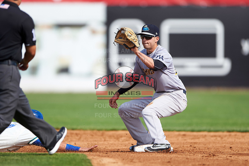 Trenton Thunder shortstop Tyler Wade (14) waits for a throw during the first game of a doubleheader against the Hartford Yard Goats on June 1, 2016 at Sen. Thomas J. Dodd Memorial Stadium in Norwich, Connecticut.  Trenton defeated Hartford 4-2.  (Mike Janes/Four Seam Images)