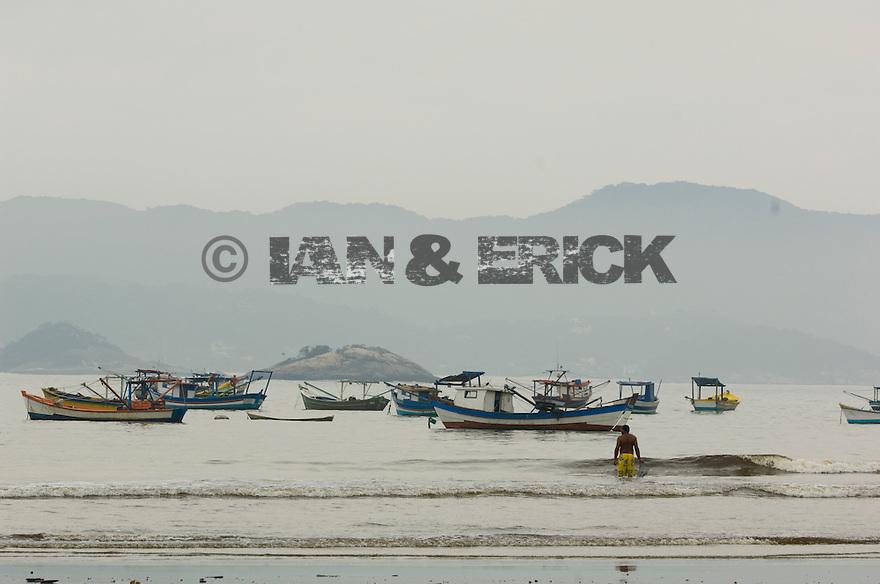 Fisherman's boat anchored in the bay near Sao Pedro, Brazil