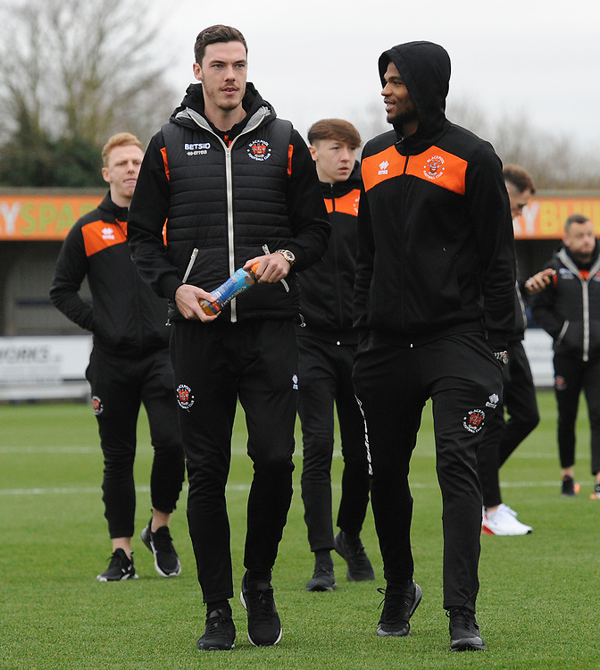 Blackpool's Ben Heneghan and Michael Nottingham<br /> <br /> Photographer Kevin Barnes/CameraSport<br /> <br /> The EFL Sky Bet League One - AFC Wimbledon v Blackpool - Saturday 29th December 2018 - Kingsmeadow Stadium - London<br /> <br /> World Copyright © 2018 CameraSport. All rights reserved. 43 Linden Ave. Countesthorpe. Leicester. England. LE8 5PG - Tel: +44 (0) 116 277 4147 - admin@camerasport.com - www.camerasport.com
