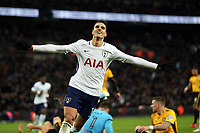 Erik Lamela of Tottenham Hotspur celebrates scoring the second goal during Tottenham Hotspur vs Newport County, Emirates FA Cup Football at Wembley Stadium on 7th February 2018