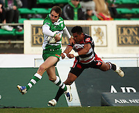 Manawatu winger Andre Taylor tries to stay in the field of play as he beats Notise Tauafao during the Air NZ Cup rugby match between Manawatu Turbos and Counties-Manukau Steelers at FMG Stadium, Palmerston North, New Zealand on Sunday, 2 August 2009. Photo: Dave Lintott / lintottphoto.co.nz