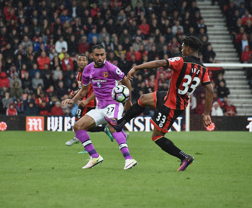 Hull City's Ahmed Elmohamady (l) battles with Bournemouth's Jordon Ibe (r)<br /> <br /> Bournemouth 6 - 1 Hull City<br /> <br /> Photographer David Horton/CameraSport<br /> <br /> The Premier League - Bournemouth v Hull City - Saturday 15th October 2016 - Vitality Stadium - Bournemouth<br /> <br /> World Copyright &copy; 2016 CameraSport. All rights reserved. 43 Linden Ave. Countesthorpe. Leicester. England. LE8 5PG - Tel: +44 (0) 116 277 4147 - admin@camerasport.com - www.camerasport.com