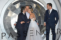 Actors Michael Sheen, director Morten Tyldum, Jennifer Lawrence &amp; Chris Pratt at the world premiere of &quot;Passengers&quot; at the Regency Village Theatre, Westwood. <br /> December 14, 2016<br /> Picture: Paul Smith/Featureflash/SilverHub 0208 004 5359/ 07711 972644 Editors@silverhubmedia.com