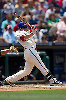Philadelphia Phillies second baseman Mike Fontenot #18 swings during the Major League Baseball game against the Pittsburgh Pirates on June 28, 2012 at Citizens Bank Park in Philadelphia, Pennsylvania. The Pirates defeated the Phillies 5-4. (Andrew Woolley/Four Seam Images).