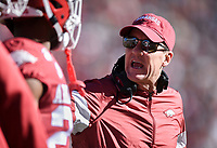 NWA Democrat-Gazette/CHARLIE KAIJO Arkansas head coach Chad Morris reacts, Saturday, November 2, 2019 during the first quarter of a football game at Donald W. Reynolds Razorback Stadium in Fayetteville. Visit nwadg.com/photos to see more photographs from the game.