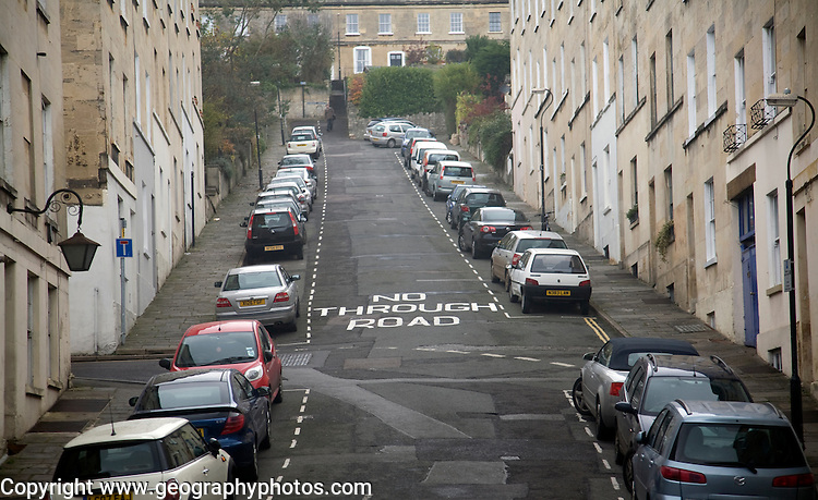 No Through Road road sign on steep Thomas Street, Walcot, Bath, England