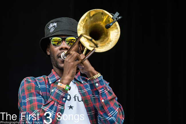 Corey Peyton of The Soul Rebels performs at the Outside Lands Music & Art Festival at Golden Gate Park in San Francisco, California.