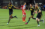 Jun 6, 2015; Portland, OR, USA; Portland Timbers forward Fanendo Adi (9) celebrates with Portland Timbers defenders Liam Ridgewell (24) and Nat Borchers (7) after he scored a goal during the second half of the game against the New England Revolution at Providence Park. The Timbers won the game 2-0. Mandatory Credit: Steve Dykes-USA TODAY Sports