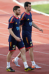 MADRID (24/05/09).- The Spanish Soccer national team has officially begun their hunt for the championship, arriving in the Madrid municipality of Las Rozas to begin preparing for South Africa World Cup.  Xabi Alonsoa and Sergio Busquets...PHOTO: Cesar Cebolla / ALFAQUI