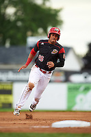 Batavia Muckdogs second baseman Rony Cabrera (26) running the bases during a game against the West Virginia Black Bears on June 28, 2016 at Dwyer Stadium in Batavia, New York.  Batavia defeated West Virginia 3-1.  (Mike Janes/Four Seam Images)
