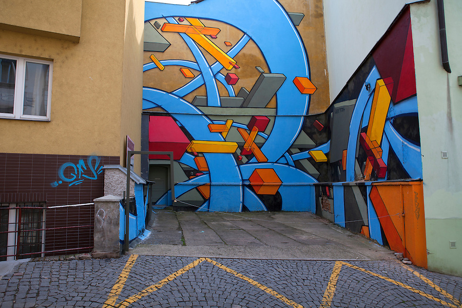 Colorful, abstract graffiti in Prague, Czech Republic, Europe