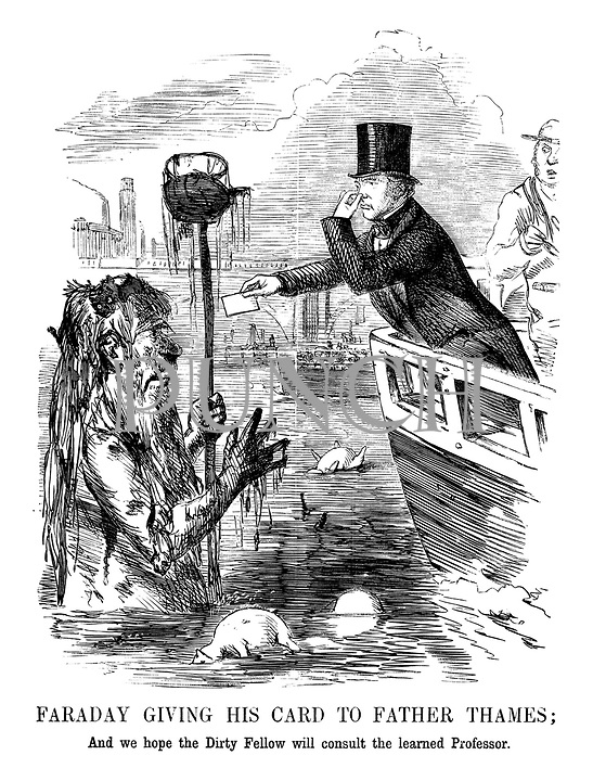 Faraday Giving His Card to Father Thames; And we hope the Dirty Fellow will consult the learned Professor.