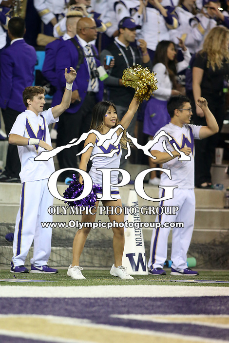 SEATTLE, WA - SEPTEMBER 16:  Washington cheerleader Jackie Lin entertained fans during the football game between the Washington Huskies and the Fresno State Bulldogs on September 16, 2017 at Husky Stadium in Seattle, WA. Washington won 63-7 over Montana.