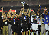 DC United forward Jaime Moreno lifts up the  trophy to salutes the fans after wining, DC United defeated The Charleston Battery 2-1 to win the US. Open Cup, Wednesday September 3,  2008 at RFK Stadium.