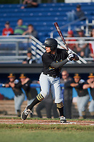 West Virginia Black Bears right fielder Bligh Madris (17) at bat during a game against the Batavia Muckdogs on June 26, 2017 at Dwyer Stadium in Batavia, New York.  Batavia defeated West Virginia 1-0 in ten innings.  (Mike Janes/Four Seam Images)