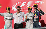 Formula 1 United States Grand Prix 2014, 31.10.-02.11.14<br /> Podium: 2.Platz/Place Nico Rosberg(GER#6), Mercedes AMG Petronas F1 Team, Sieger/Winner Lewis Hamilton (GB#44), Mercedes AMG Petronas F1 Team, 3.Platz/Place Daniel Ricciardo (AUS#3), Infiniti Red Bull Racing<br /> Foto &copy; nordphoto /  Bratic