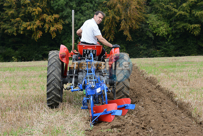 Gerry Byrne from Tinure on his Massey DT 4500 at the Meath Vintage Group's ploughing Day at Townley Hall.