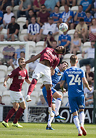 Vadaine Oliver of Northampton Town heads on during Colchester United vs Northampton Town, Sky Bet EFL League 2 Football at the JobServe Community Stadium on 24th August 2019