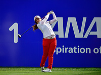 Hyjin Choi of Korea, plays her shot from the first tee during the Final round of the ANA Inspiration at the Mission Hills Country Club in Palm Desert, California, USA. 4/1/18.<br /> <br /> Picture: Golffile | Bruce Sherwood<br /> <br /> <br /> All photo usage must carry mandatory copyright credit (&copy; Golffile | Bruce Sherwood)during the second round of the ANA Inspiration at the Mission Hills Country Club in Palm Desert, California, USA. 4/1/18.<br /> <br /> Picture: Golffile | Bruce Sherwood<br /> <br /> <br /> All photo usage must carry mandatory copyright credit (&copy; Golffile | Bruce Sherwood)