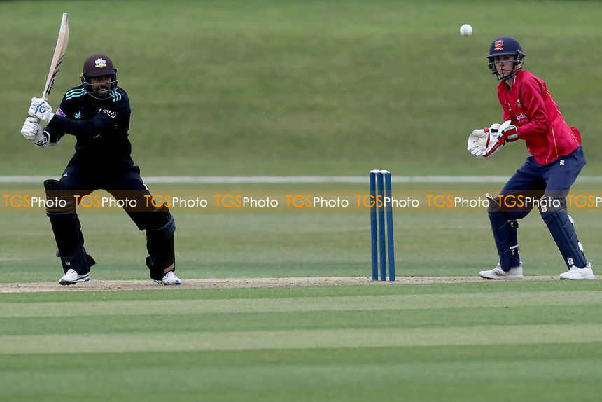 Arun Harinath in batting action as Essex wicket keeper Will Buttleman looks on during Essex CCC 2nd XI vs Surrey CCC 2nd XI, Second XI Trophy Cricket at Billericay Cricket Club on 3rd May 2017