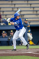 Indiana State Sycamores third baseman Jake Means (5) at bat against the Michigan Wolverines on April 10, 2019 in the NCAA baseball game at Ray Fisher Stadium in Ann Arbor, Michigan. Michigan defeated Indiana State 6-4. (Andrew Woolley/Four Seam Images)