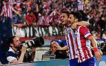 Vicente calderon Stadium. Madrid. Spain. 09/04/2014. Match between Barcelona and Atletico Madrid, Champions League. The image shows: Filipe Luiz and David Villa