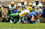 BROOKINGS, SD - OCTOBER 3:  Dallas Goedert #86 from South Dakota State can't control the ball for a incomplete pass as Chris Board #1 from North Dakota State defends in the first quarter of their game Saturday night at Coughlin Alumni Stadium in Brookings. (Photo by Dave Eggen/Inertia)