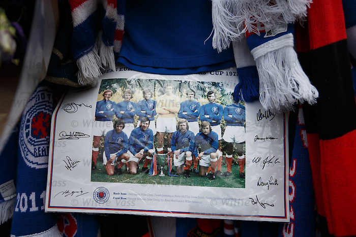 Tributes to Sandy Jardine on the blue gates of Ibrox