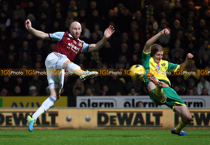 James Collins of West Ham misses a great 2nd half chance - Norwich City vs West Ham United, Barclays Premier League at Carrow Road, Norwich - 09/11/13 - MANDATORY CREDIT: Rob Newell/TGSPHOTO - Self billing applies where appropriate - 0845 094 6026 - contact@tgsphoto.co.uk - NO UNPAID USE
