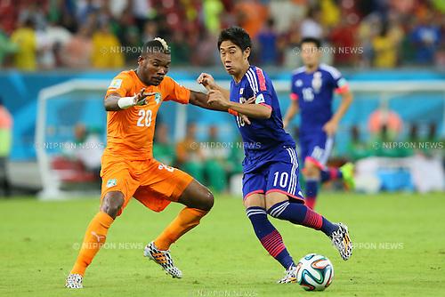 Shinji Kagawa (JPN), <br /> JUNE 14, 2014 - Football /Soccer : <br /> 2014 FIFA World Cup Brazil <br /> Group Match -Group C- <br /> between Cote d'Ivoire 2-1 Japan <br /> at Arena Pernambuco, Recife, Brazil. <br /> (Photo by YUTAKA/AFLO SPORT) [1040]