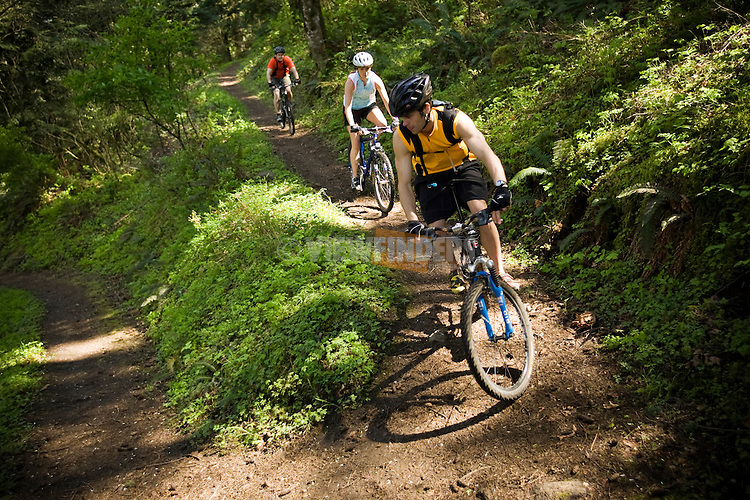 Three People Mountain Biking in the Columbia River Gorge Forest, Oregon