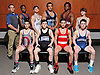 The 2016 Newsday All-Long Island varsity wrestling team poses for a group picture at company headquarters on Tuesday, Mar. 29, 2016. FRONT ROW, FROM LEFT: Tommy Cox - Deer Park, Anthony Sparacio - North Babylon, Vito Arujau - Syosset and John Arceri - Huntington. BACK ROW, FROM LEFT: Coach Ray Adams - Long Beach, Jacori Teemer - Long Beach, Matt DeVincenzo - Port Washingon, Edwin Rubio - Glenn, Terron Robinson - Whitman and Adam Busiello - Eastport-South Manor.