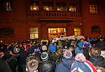 Rangers fans protesting at the front door of Ibrox Stadium