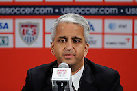 United States Soccer Federation President Sunil Gulati addresses the media at a press conference introducing new US Men's National Team Head Coach Jurgen Klinsmann at NIKETOWN in New York, NY, on August 01, 2011.
