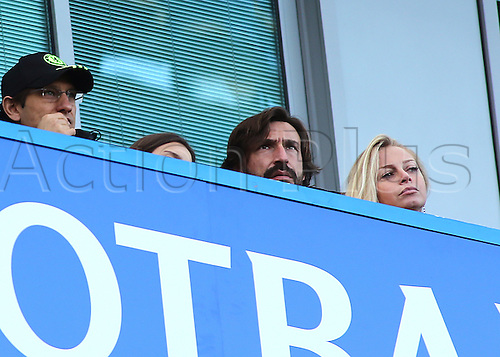11.12.2016. Stamford Bridge, London, England. Premier League Football. Chelsea versus West Bromwich Albion. Ex Italian Football Star Andrea Pirlo (centre) watches the game