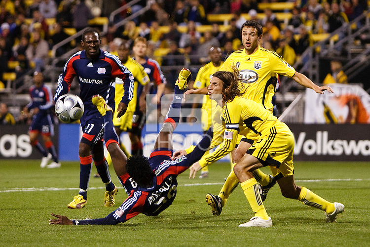 25 OCTOBER 2009:  Sainey Nyassi of the New England Revolution (31), Kenny Mansally, Frankie Hejduk of the Columbus Crew(2) and Jed Zayner during the New England Revolution at Columbus Crew MLS game in Columbus, Ohio on October 25, 2009.