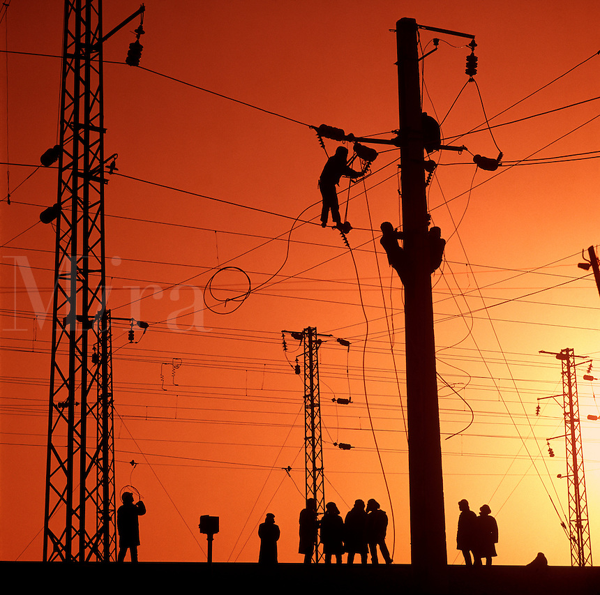 Electrical work on overhead supply, railway, Datong, China