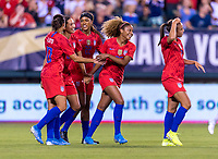 PHILADELPHIA, PA - AUGUST 29: Christen Press #23 of the United States celebrates during a game between Portugal and the USWNT at Lincoln Financial Field on August 29, 2019 in Philadelphia, PA.