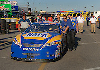 Feb 14, 2007; Daytona, FL, USA; The car of Nascar Nextel Cup driver Michael Waltrip (55) is pushed back to the garage after going through tech inspection during practice for the Daytona 500 at Daytona International Speedway. Mandatory Credit: Mark J. Rebilas